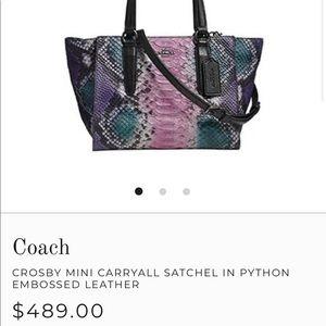 Coach Bags - Coach Crosby Mini Carryall Python Leather Purse